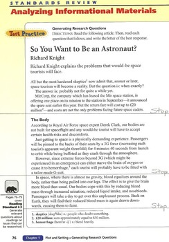 So You Want to Be an Astronaut? - Holt ELA Grade 9