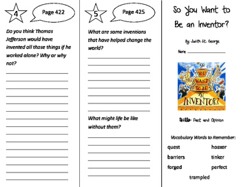 So You Want to Be an Inventor? Trifold - Storytown 4th Grade Unit 4 Week 1
