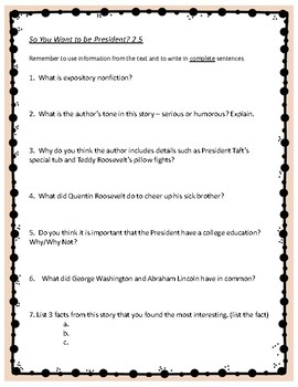 So You Want to be President? - 4th Grade Reading Street