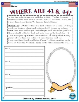 So You Want to be President - English/Language Arts/Reading Activities