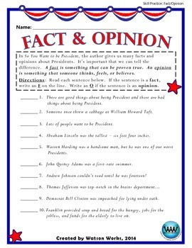 So You Want to be President - Fact/Opinion Activity Perfect for Presidents' Day