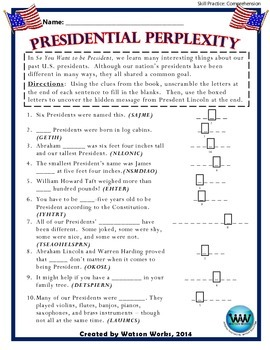"So You Want to be President - ""Presidential Perplexity"" Story Comprehension"