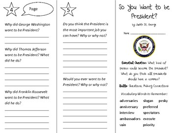 So You Want to be President Trifold - Open Court 3rd Grade Unit 5 Lesson 6