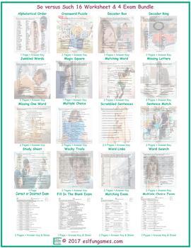 So versus Such 16 Worksheet- 4 Exam Bundle