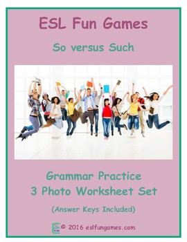 So versus Such 3 Photo Worksheet Set