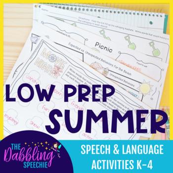 Low Prep Summer Speech & Language Activities