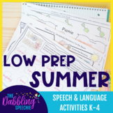 Low Prep Summer Speech & Language Activities