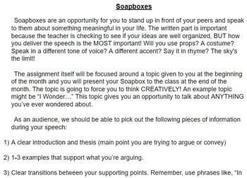 Soapboxes - Public Speaking, essay writing assignment