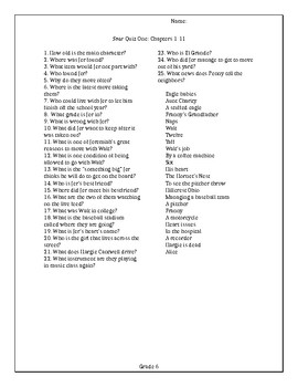 Soar by Joan Bauer Matching Quizzes and Answer Key
