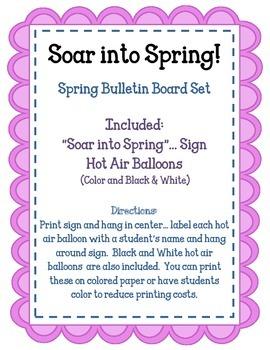 Soar into Spring.  Spring Bulletin Board Set Idea.  Hot Air Balloons