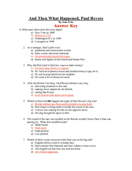 Soc. St. - And Then What Happened Paul Revere quiz and key
