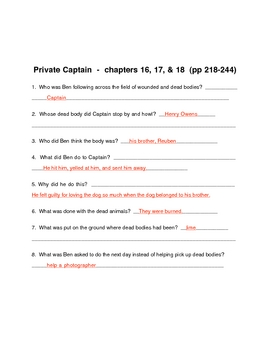 """Soc. st.  Guided Reading - """"Private Captain"""" (novel) chapter quizzes"""