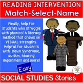 Easy Social Studies Stories: Match-Select-Name (Down Syndr