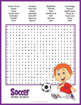 Soccer Word Search Worksheet by Puzzles to Print | TpT