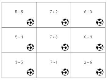 Soccer Addition & Subtraction Sort