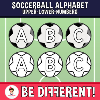 Soccerball Alphabet Clipart Letters ENG.-SPAN. (Upper-Lower-Numb.)