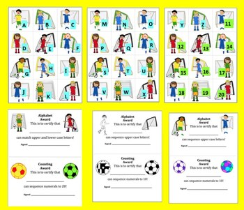 Soccer Alphabet and Counting:  Soccer ABC & 123 Match! FREE FREEBIE!