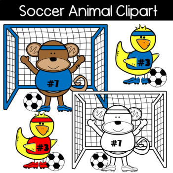 Soccer Animal Clipart: Soccer players, ball, goal, cleats & more!
