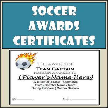 Soccer Awards Certificates - 9 Different Awards with Nomination Ballots
