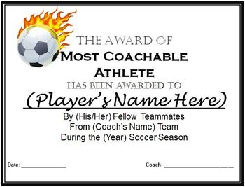 soccer awards certificates 9 different awards with nomination ballots
