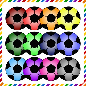 Soccer Ball Clip Art - Assorted Colors