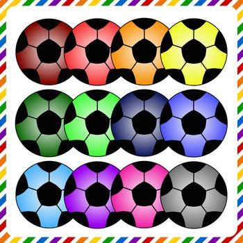 Soccer Ball Clip Art - Assorted Colors