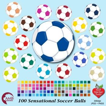Soccer Ball Clipart, Sports Clipart, Team Colors, {Best Teacher Tools} AMB-1963