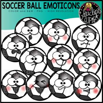 Soccer Ball Emoticons Clipart Set {Educlips Clipart}