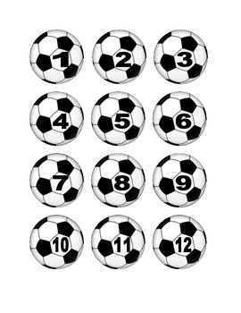 Soccer Ball Numbers for Calendar or Math Activity