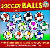 Sassy Soccer Balls Clipart Set- Bright and Colorful!