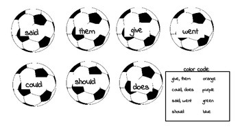 Soccer Balls sight words Color Sheet OR Flashcards High Frequency