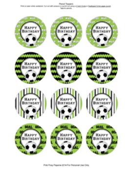 Soccer Birthday Pencil Toppers