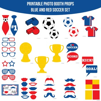 Soccer Blue Red Printable Photo Booth Prop Set