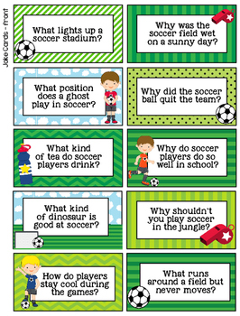 Soccer Boy Lunchbox Notes, Jokes, and Bottle Wraps