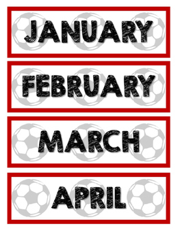 Soccer Calendar Numbers and Months