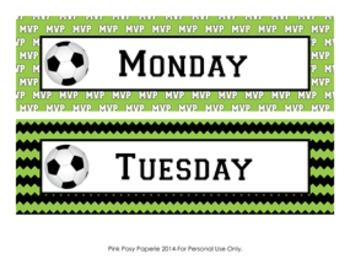 Soccer Calendar Set - Months - Days - Numbers