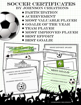 soccer certificates by johnson creations teachers pay teachers