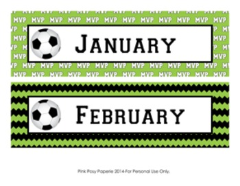 Soccer Classroom Decor Monthly Calendar Headers