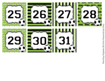 Soccer Classroom Decor Monthly Calendar Numbers