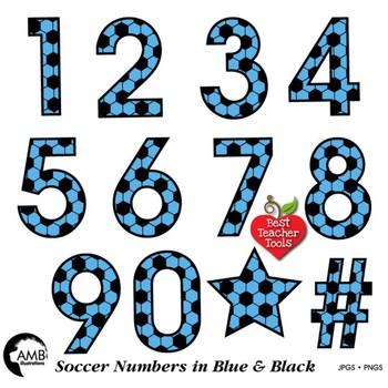 Soccer Clipart, Blue Numbers Clipart, Sports Team, {Best Teacher Tools} AMB-1988