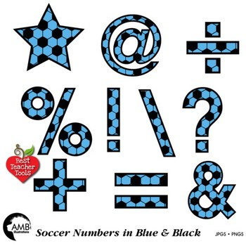 Soccer Clipart, Blue Numbers Clipart, Sports Team, {Best Teacher Tools} AMB-1988