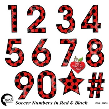 Soccer Clipart, Red Numbers Clipart, Sports Team, {Best Teacher Tools} AMB-1990