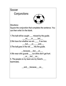 Soccer Conjunction Worksheet