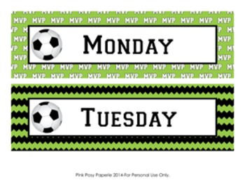 Soccer Days of the Week Calendar Headers