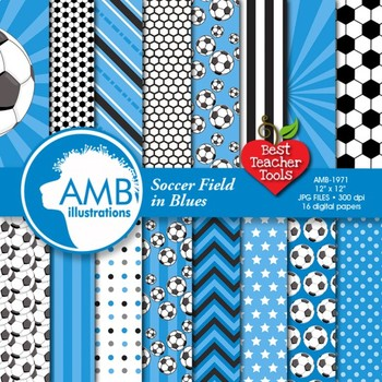 Soccer Digital Papers and Backgrounds, Football {Best Teacher Tools} AMB-1971