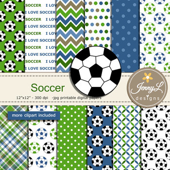 Soccer Digital papers and clipart SET