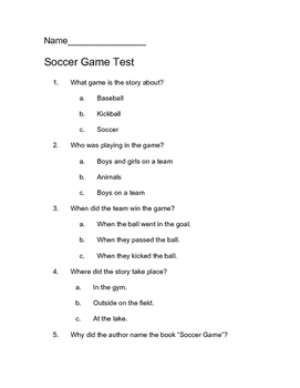 Soccer Game Comprehension Test