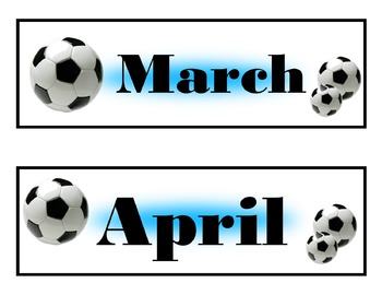 Soccer Calendar Set! Soccer Bulletin Board! Soccer Theme! Sports Calendar!