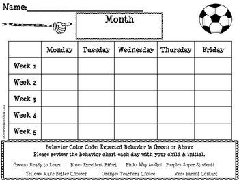 Soccer Kids Behavior Clip Chart
