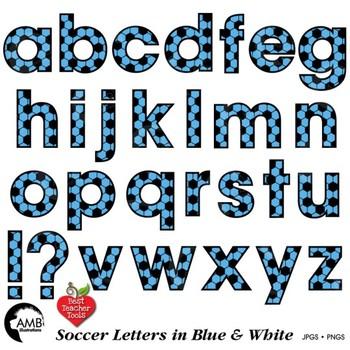 Soccer Letters Clipart, Blue Alphabet Clipart,  {Best Teacher Tools} AMB-1967